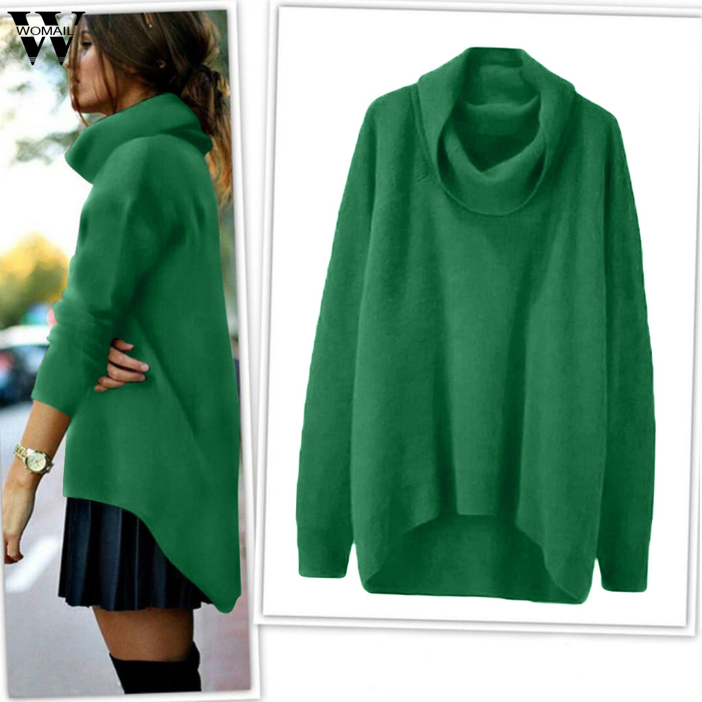 Womail Women Sweater Turtleneck Sweater Long Sleeves Knit Jumper Sweater Female Pulover High Collar Irregular Loose Green Top