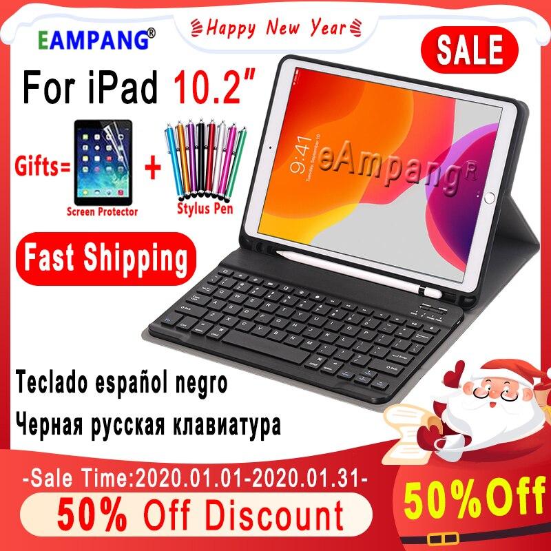 Étui pour iPad 10.2 étui pour clavier avec porte-crayons pour Apple iPad 7 7th Generation A2197 A2198 russe espagnol anglais clavier