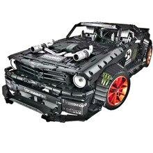 Forded Mustanged совместимый с Legoed City Technic, MOC-22970 для автомобиля, строительные блоки, спортивный 23009, 20102, мощный двигатель, функциональные кирпичи, игрушки