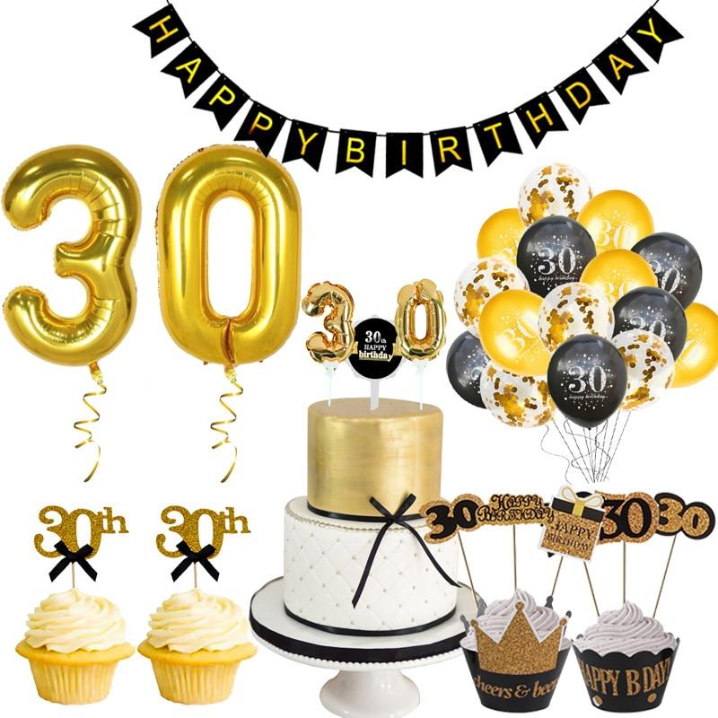 Weigao ouro látex balões de ar 30 40 50 anos feliz aniversário decorações festa adulto gigante 40 polegada número dígitos folha ballon