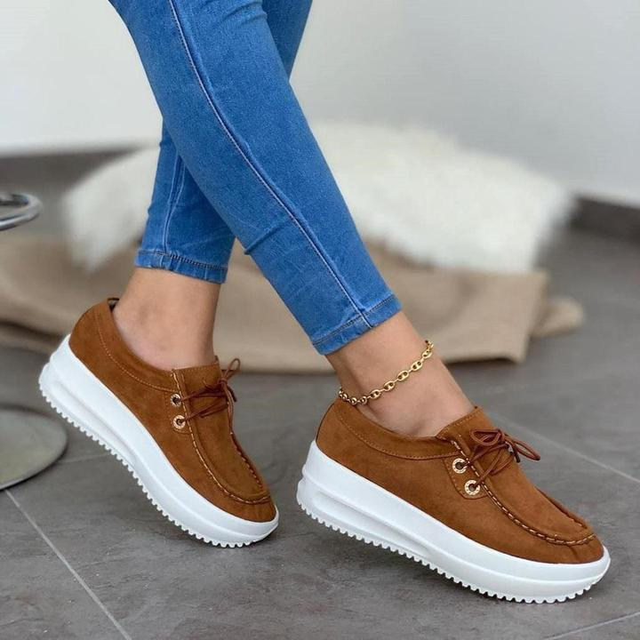 ladies vulcanized shoes new fashion solid platform women shoes lace-up party sneakers plus size casual shoes female sneakers