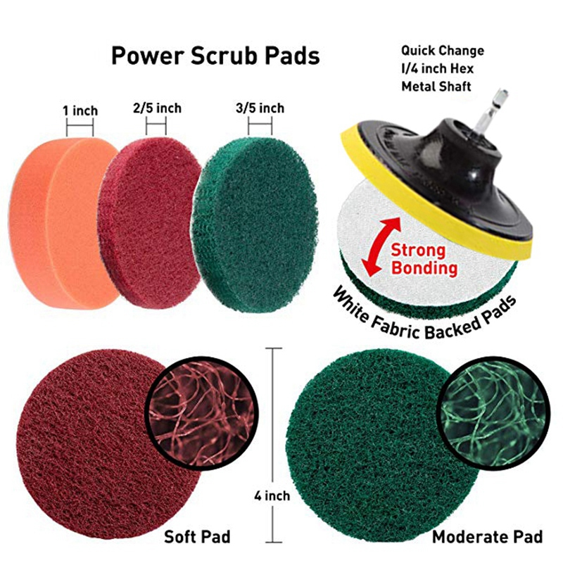Image 3 - 21 Piece Drill Brush Attachments Set Scrub Pads Sponge Power Scrubber Brush with Rotate Extend Long Attachment All Purpose CleanElectric Drills   -