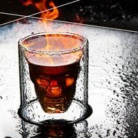 16pc doppio bicchiere birra whisky Vodka vino acqua Champagne Cocktail bicchiere da vino caffè tazza da latte set 25ML tazza teschio trasparente