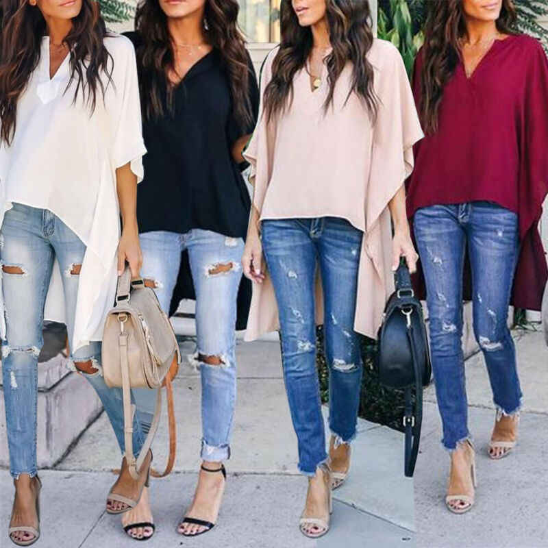 2019 Nieuwe vrouwen Zomer Casual Losse Tops Fashion Half Mouw V-hals Losse Lange Kleding Plus Size T-Shirt