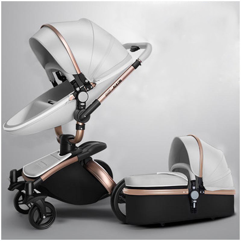 PU Baby Stroller 3 In 1 Can Sit Lie 360° Rotating Shock Absorbing Four Wheel Multi-function Baby Stroller
