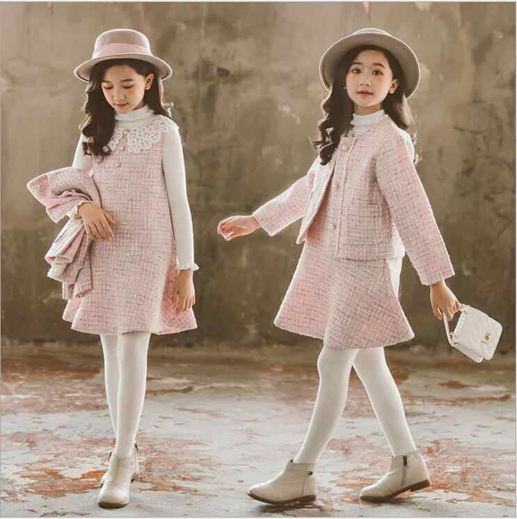 Kids Clothes Girls Set 2019 Autumn Winter Wool Coats And Skirts Boutique Kids Clothing Sets Fashion Casual Teenager Fall Outfits Clothing Sets Aliexpress