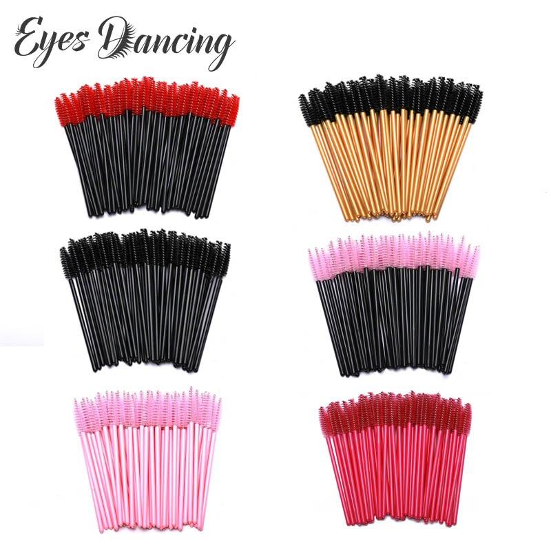 Eyes Dancing 50Pcs Eyelash Brush Makeup Tools Brushes Disposable Mascara Wands Applicator Spoolers Eye Lashes Cosmetic Brush
