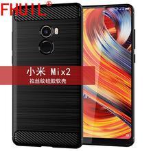 цена на FHUIL Texture Soft TPU Bumper Shockproof Case For Xiaomi MIX 2 Cover Protective Fundas Luxury Carbon Fiber MI MIX 2 cases