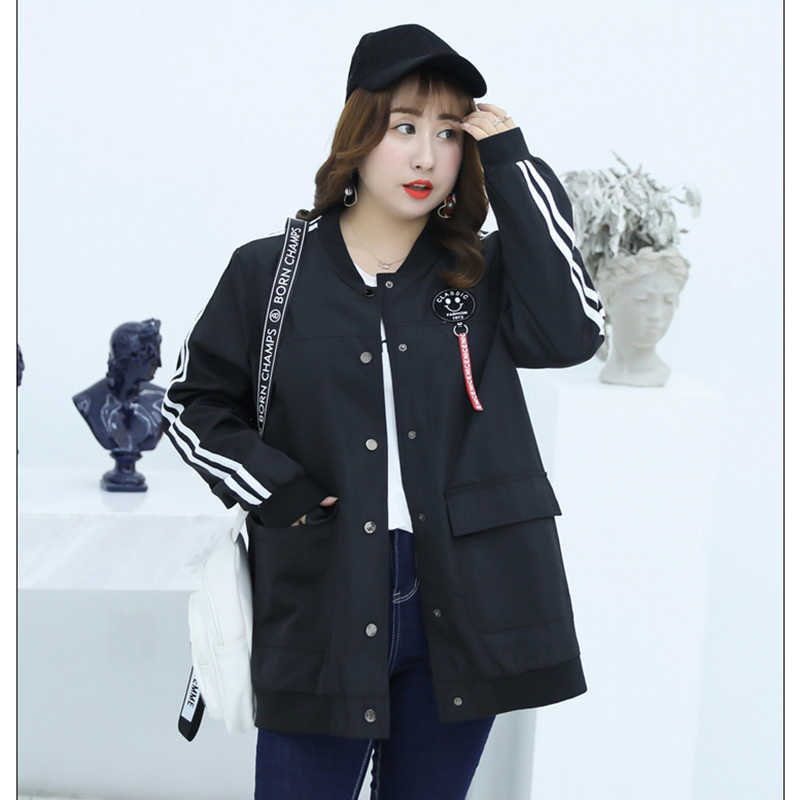 New Jackets Women 2019 Spring Autumn Lady Coats Plus Over Size 4XL 5XL Female Bomber Jacket Long Sleeve Ladies Outerwear Euro 50