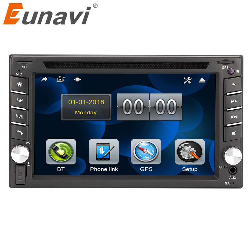 Eunavi 2 din universal Auto Multimedia Radio DVD Player GPS Navigation In dash Autoradio Stereo Kopf Einheit automotivo touchscreen image