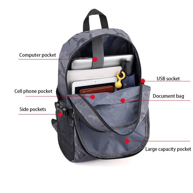 Sac à dos pour ordinateur portable externe USB Charge ordinateur sacs à dos sacs imperméables pour hommes d'affaires voyage sac à dos garçons sacs d'école - 6