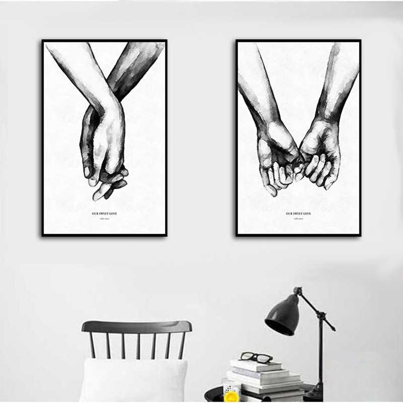 Bắc Âu Tay Tình Yêu Ngọt Ngào Nghệ Thuật Treo Tường Vải Bố Poster Tối Giản In Hình Love Trích Dẫn Tranh Hình Cho Trang Trí Phòng Khách