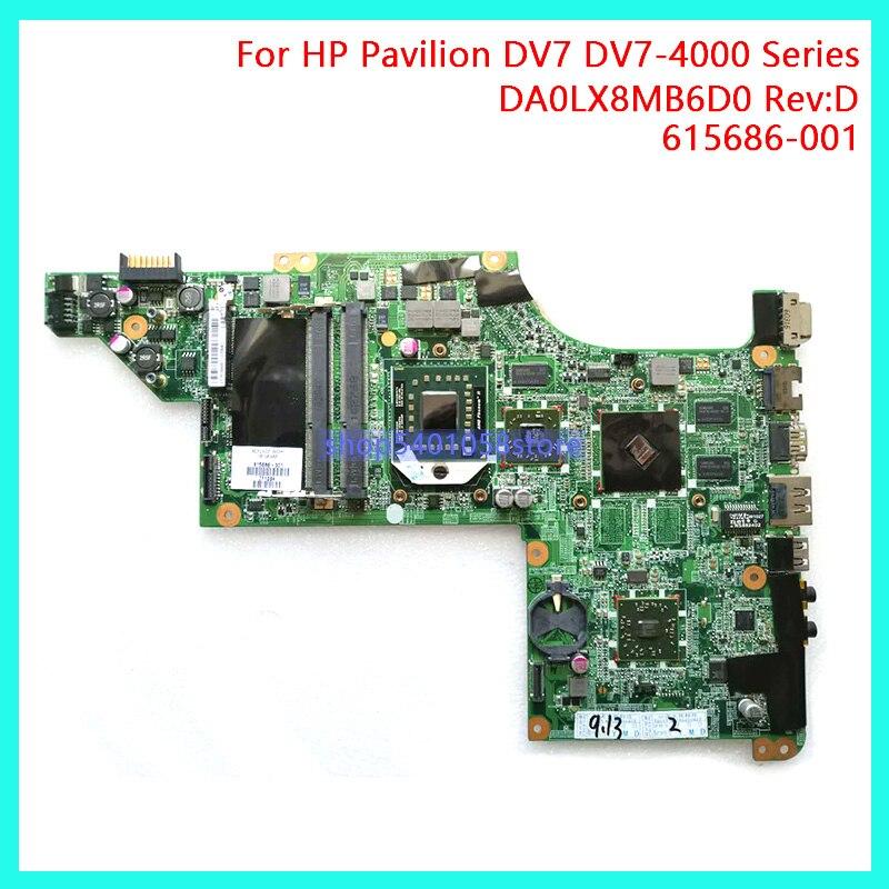 DUORUN For HP Pavilion DV7 DV7-4000 Series Laptop motherboard DDR3 615686-001 DA0LX8MB6D0 Rev:D NoteBook PC 100% full Tested