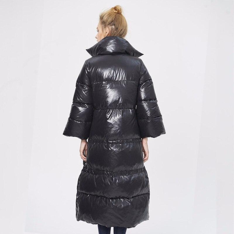 European Winter Down Jacket Women Long Coat Puffer Womens Down Jackets Brands Trumpet Sleeve Parka Campera Mujer KJ599