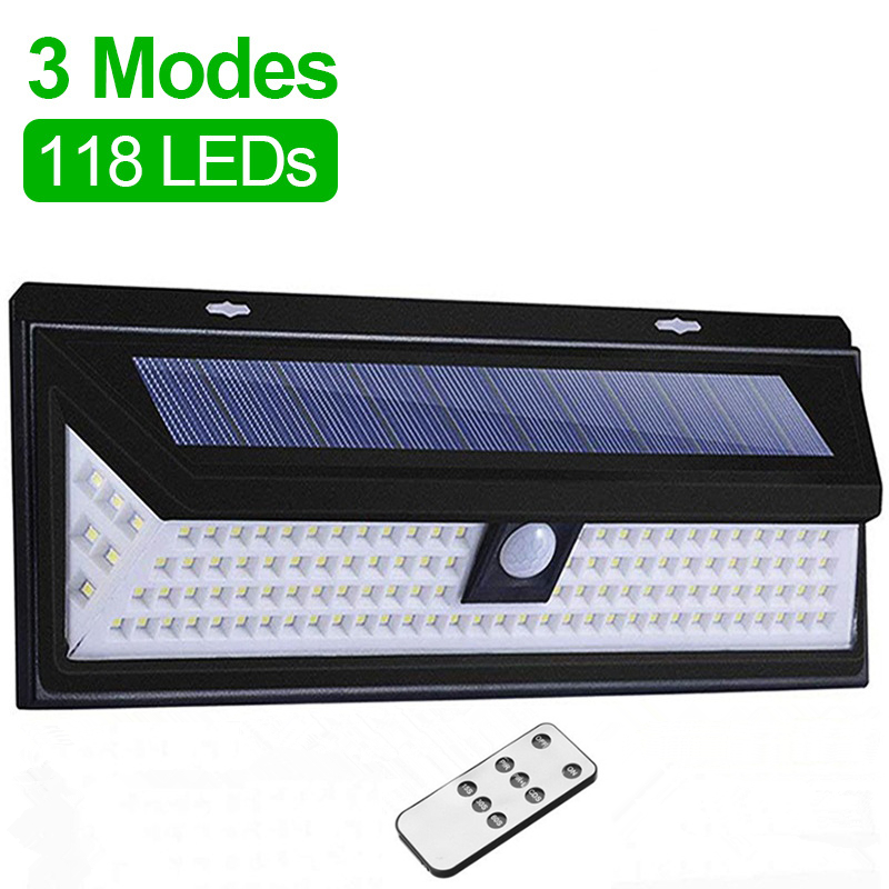 118 LED Outdoor Solar Light With Remote Control Motion Sensor Solar Spotlight 3 Modes Wall Light For Street Garden Decoration