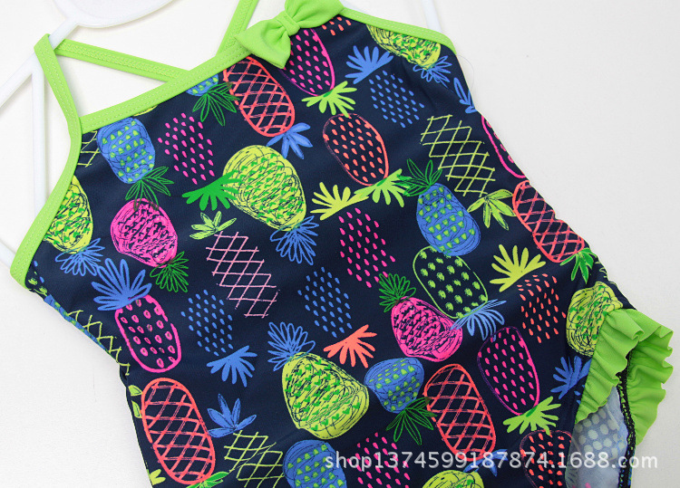 KID'S Swimwear Girls Camisole One-piece Swimming Suit Cute Pineapple Small Bow Sun-resistant One-piece Baby GIRL'S Beach Bathing
