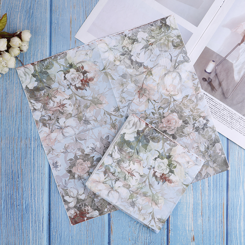33cm*33cm Printed Feature Rose Paper Napkins For Event & Party Decoration Tissue Decoupage  Flowers Pattern High Quality Napkin