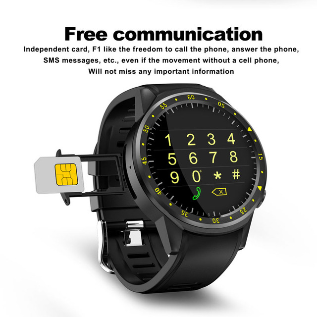 F1 Smart watch GPS watch Heart Rate tracker men smartwatch Multi-sport Mode SIM Card Pedometer for Android Ios Phones 3