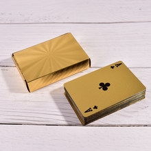 1 Set Hoogwaardige Gold Foil Plated Poker Card Familie Voldoen Games Goudfolie Speelkaarten Texas Hold'em Poker grappig