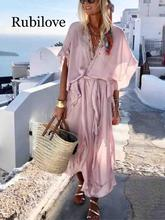 Rubilove Summer Boho Style Long Dress Women Short Sleeve Loose Ruffle Casual Beach Vintage Chiffon Maxi