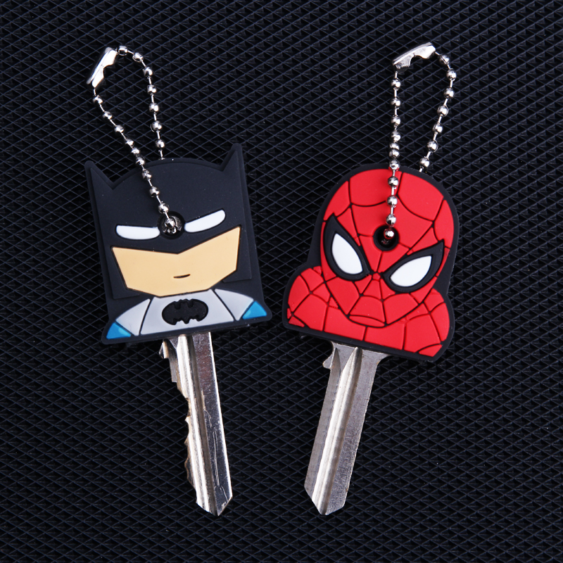 Cartoon Anime Keychain Cute Batman Spiderman Key Cover Cap Women Gift Iron Man Captain America New Exotic Key Chain