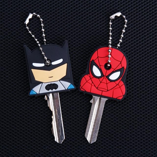Cartoon Anime Keychain Cute Silicone Batman Spiderman Key Cover Cap Women Gift Iron Man Captain America New Exotic Key Chain 1