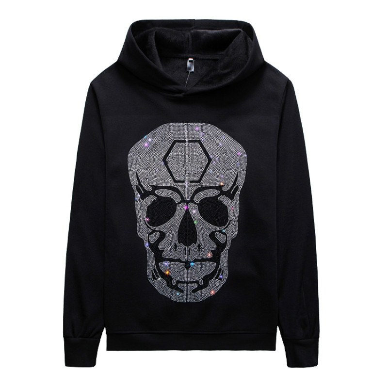YASUGUOJI Punk Style Diamonds Rhinestone Hoodies 3D Print Graphic Skeleton Skull Long Sleeve Autumn Winter Hoodies Fashion Tops