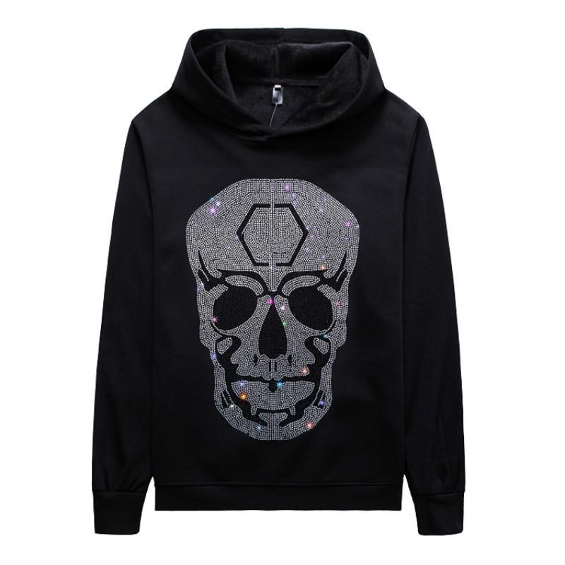 YASUGUOJI Punk Style Diamonds Rhinestone Hoodies 3D Print Graphic Skeleton Skull Long Sleeve Autumn Winter Hoodies Fashion Tops