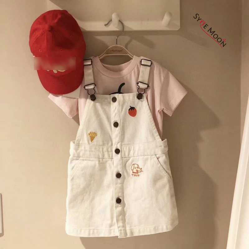 2020 New Summer Brand Kids Strap Dress For Girls Cute Loveyl Strawberry Print Dresses Baby Child Fahion Princess Dress Clothes