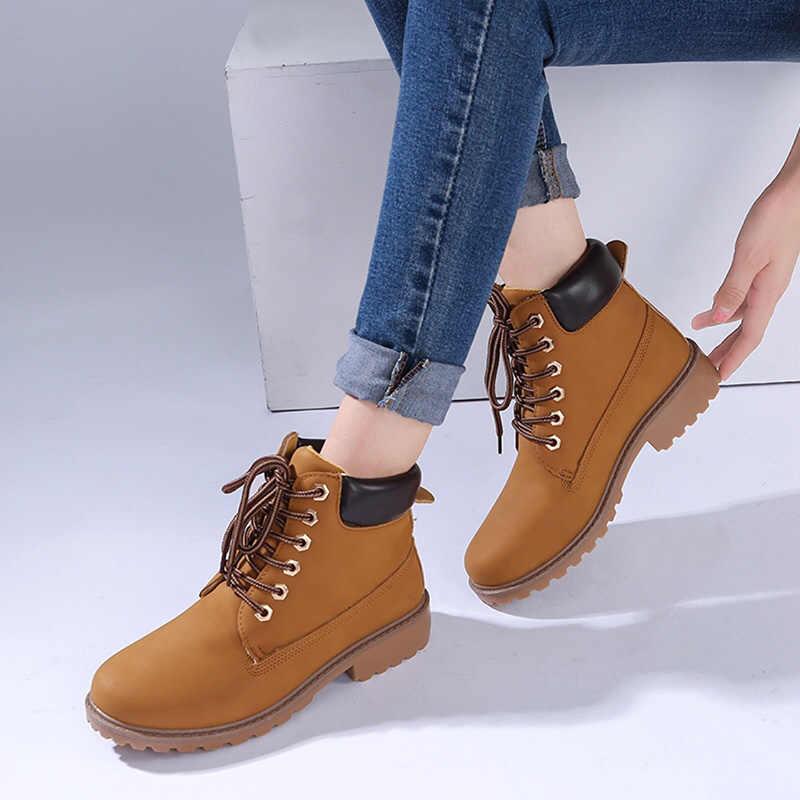 QUANZIXUAN botas de mujer Otoño Invierno botas de tobillo moda mujer botas de nieve para niñas señoras ZAPATOS DE TRABAJO mujeres talla grande 36-41