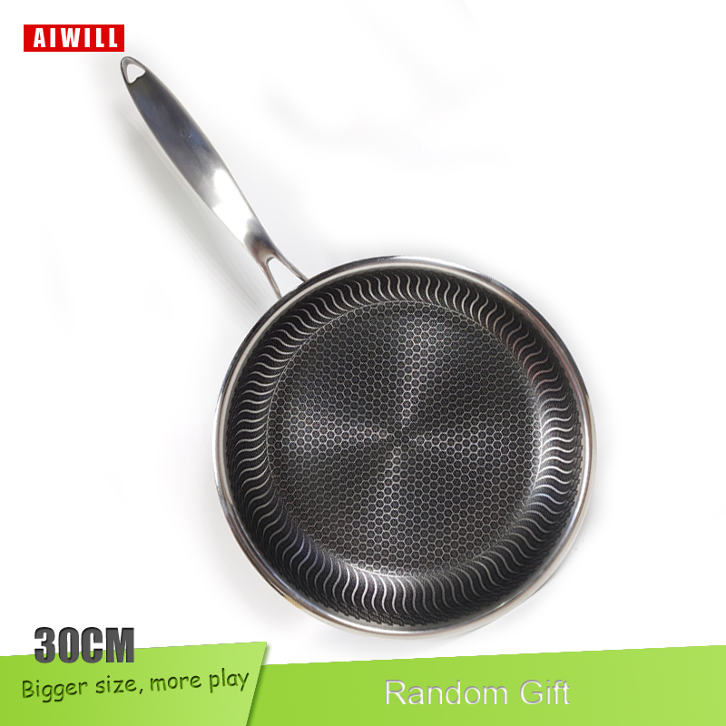 AIWILL חמה 304 נירוסטה מחבת ביתי אינדוקציה תואם Nonstick מחבת כלי בישול שימוש למטבח מסעדה 30cm