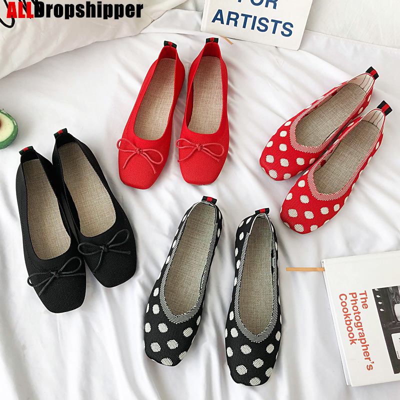 2020 Women's Flat Shoes Pregnant Shoes Beanie Shoes Woman Summer Breathable Knitted Square Head Single Shoes Casual Lazy Shoes
