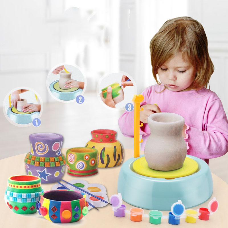 Mini DIY Handmake Ceramic Pottery Machine Kids Craft Electric Toys Children Pottery Wheels Arts Crafts Educational Toys Gifts