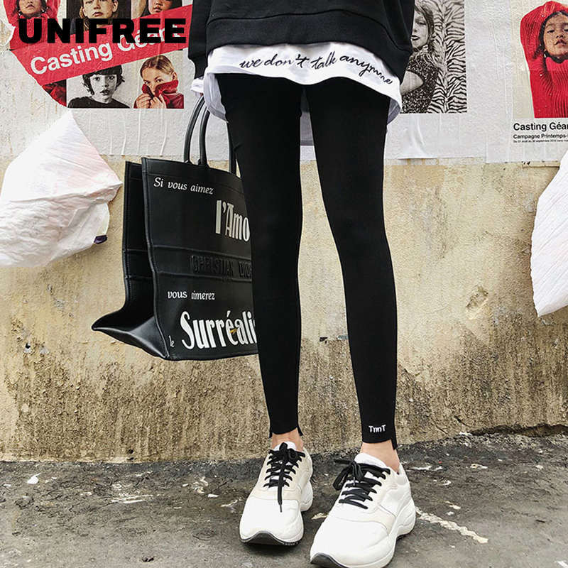 UNIFREE2019 Autumn New Arrival Quick-drying Letters Leggings Women Wear Tide Top Black Nine Points Sexy Leggings UOE183P072A10