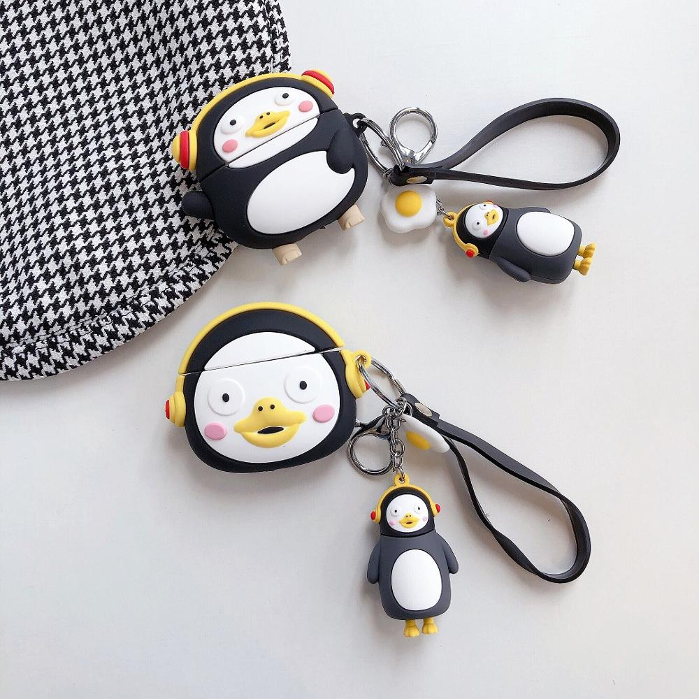 3D Lovely Cartoon Silicone Case For Airpods 1 2 3 Wireless Bluetooth Headset Pengsoo Penguin For Airpods Pro Cover With Hook