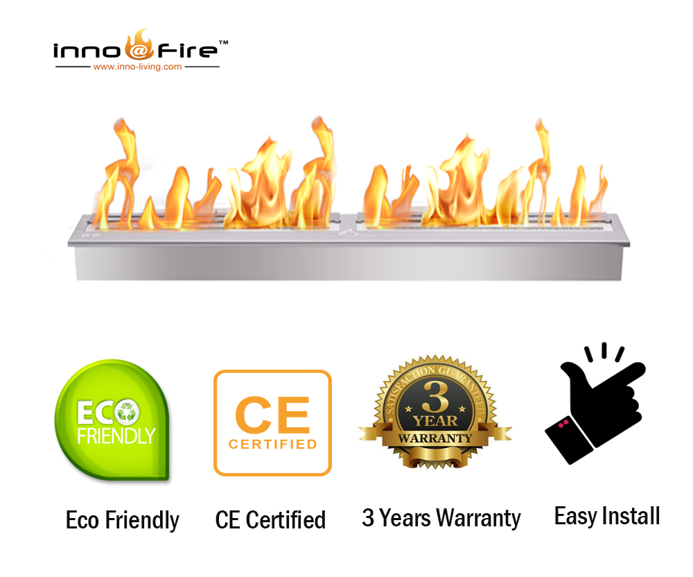 Inno Living Fire  36 Inch Indoor Ethanol Burner Built In Fire Place