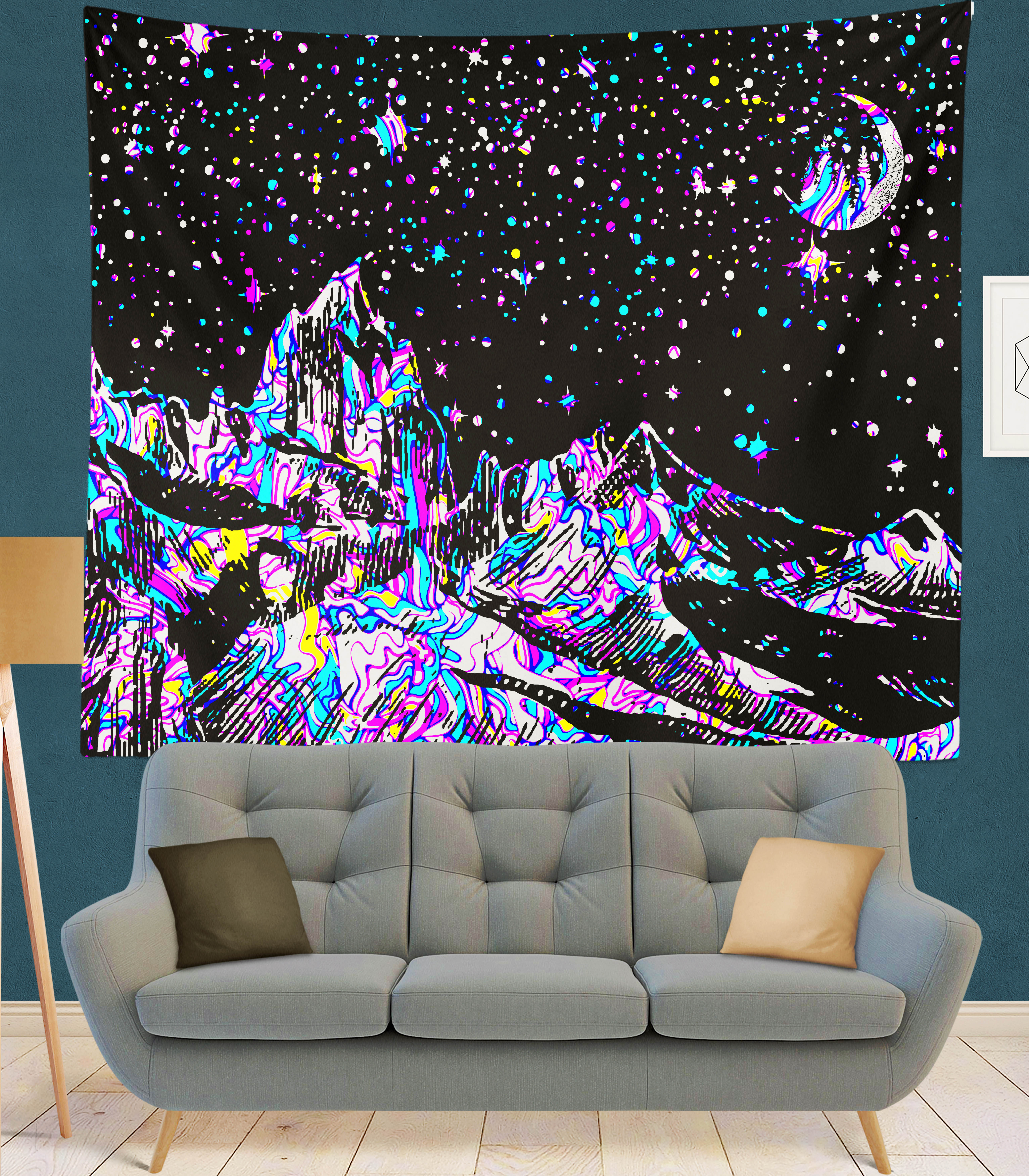 Line mountain moon star Indian Mandala Tapestry Wall Hanging Bohemian Gypsy Psychedelic Tapiz Witchcraft Tapestry