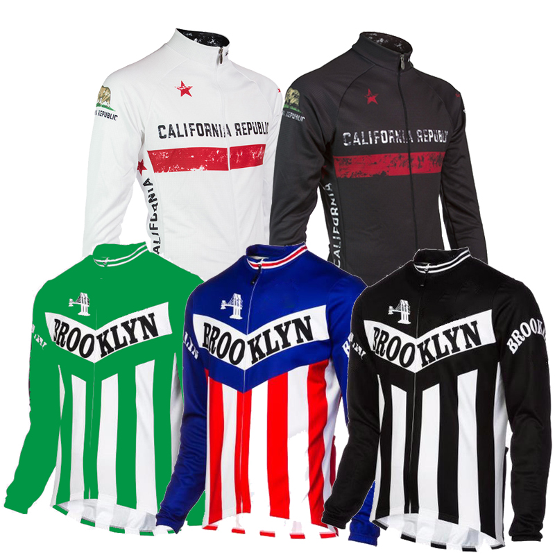 Retro Cycling Jersey men long sleeve winter fleece and no fleece red black white classic cycling clothing maillot ciclismo mtb