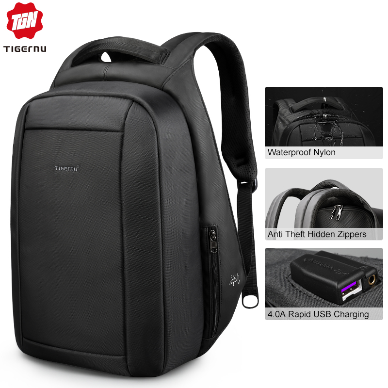 Tigernu Waterproof Anti Theft Male Mochila 15.6inch Laptop Backpack Men USB Backpacks School bags Bagpack for teens travel bag-in Backpacks from Luggage & Bags