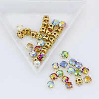 3mm 4mm 5mm 6mm farbe AB Nähen auf kristall glas Flatback Strass diamante juwelen Gold Tasse basis montees hochzeit kleid DIY handwerk