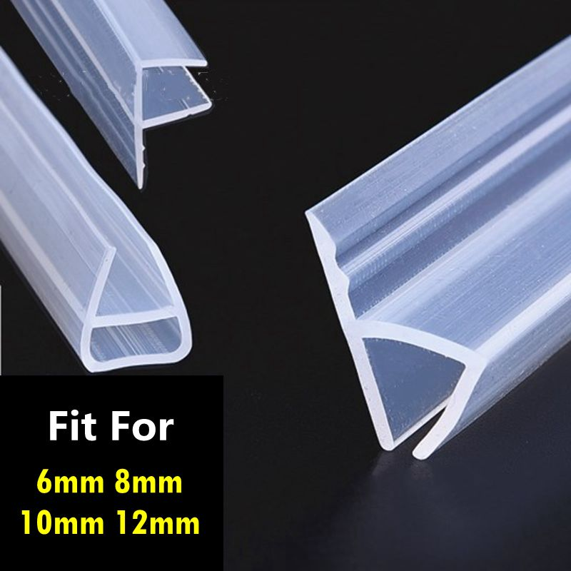 1M 6-12mm F U H Shape Glass Door Seals Silicone Rubber Shower Room Door Window Glass Seal Strip Weatherstrip Window Door