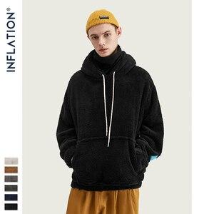 Image 4 - INFLATION Mens 2020 Autumn Winter Hoodies Hip Hop Casual Cotton Pullover Men Hoodies Skateboard Men Winter Wool Hoodies 8778W
