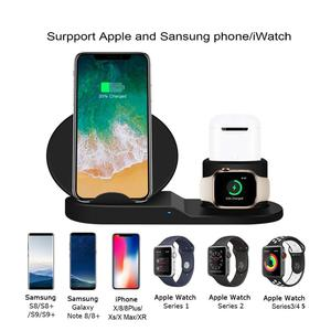Image 3 - 3in1 チーワイヤレス急速充電器ドック用スタンド airpods 時計 4 3 iphone 8 x xs 最大 xr 10 35w クイック充電 S9 S8 S7