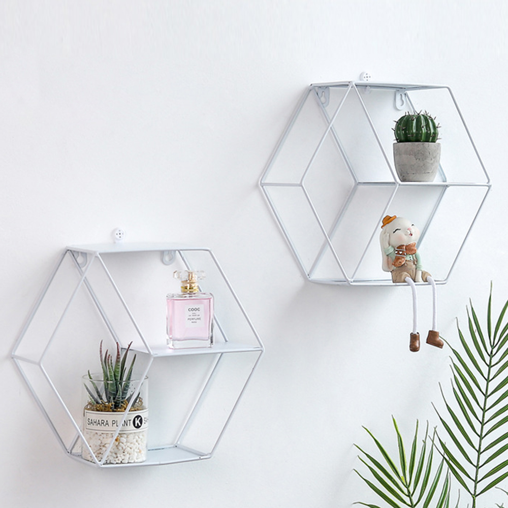 Decor Shelf Decorative Shelves Metal Round Hexagon Nordic Style Storage Rack Home Wall Potted Ornament Holder Racks