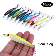 10pcs Fishing Lure Minnow Wobblers Hard Bait with Feather Hooks Fishing Tackle 7.2G 9CM Isca Artificial Bait Crankbait Swimbait