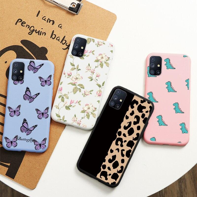 Чехол для Samsung Galaxy M51, силиконовые чехлы для телефонов 6,7 дюйма с цветочным леопардовым принтом для Samsung M 51 m51, Защитные Чехлы, оболочка, сумка