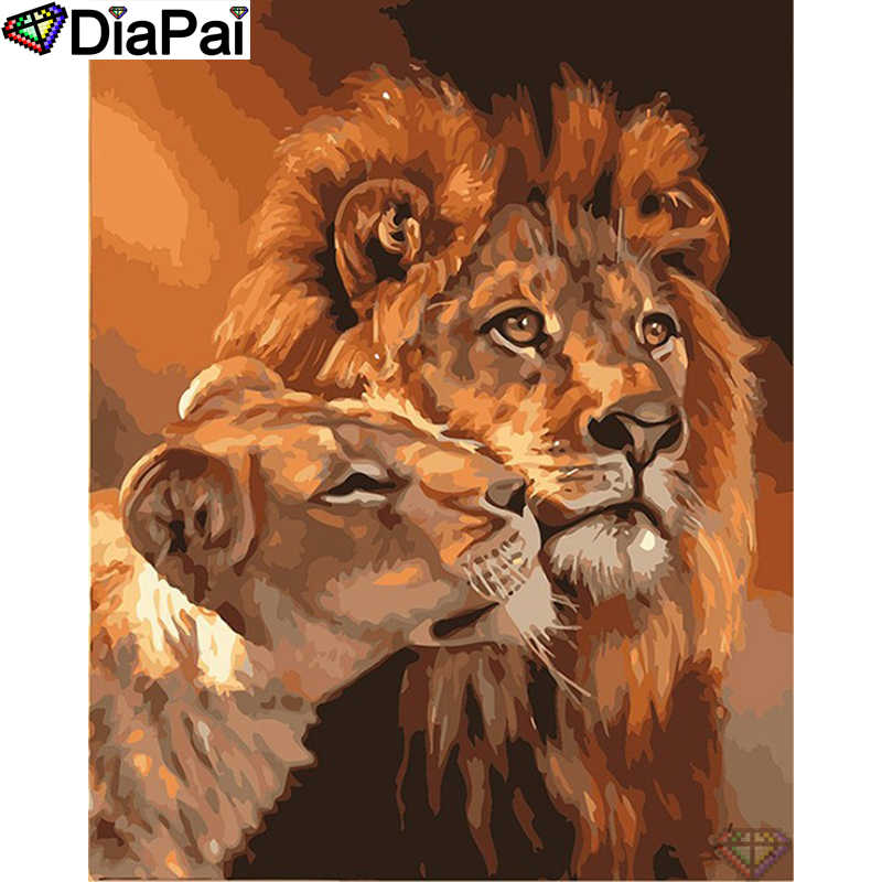 "Diapai Lukisan Berlian ""Animal Lion Beberapa"" Cross Stitch Foto Kustom Diamond Bordir Persegi Putaran Bor Dekorasi Rumah A27542"