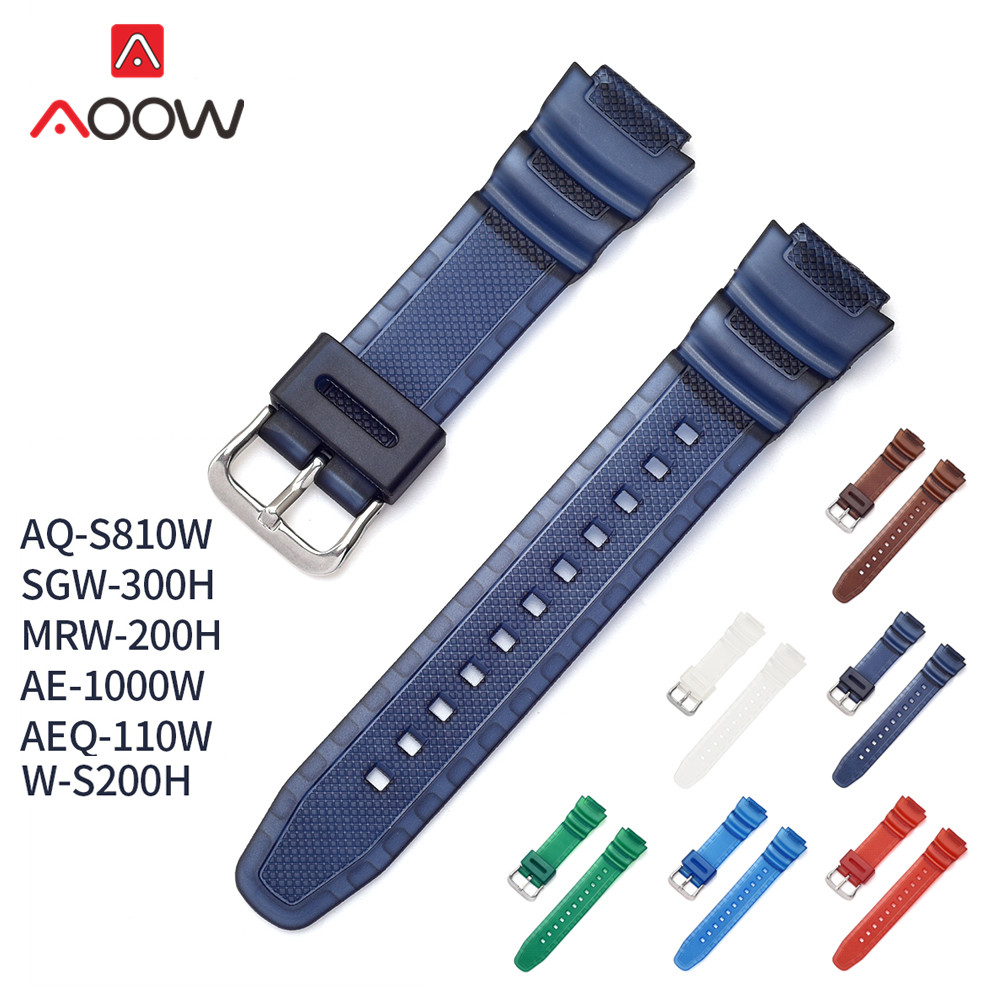 Colorful Strap Watchband 18mm For Casio AQ-S800W AE-1000W AEQ-110W Men Women Sport Waterproof PU Replacement Bracelet Watch Band