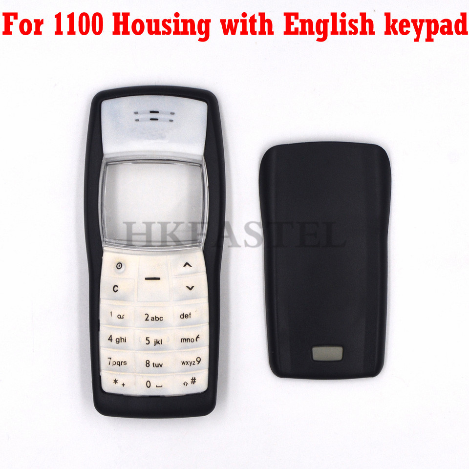 HKFASTEL New High Quality Cover For Nokia 1100 Front Housing + Back Battery Door Cover Case + English / Arabic Keypad