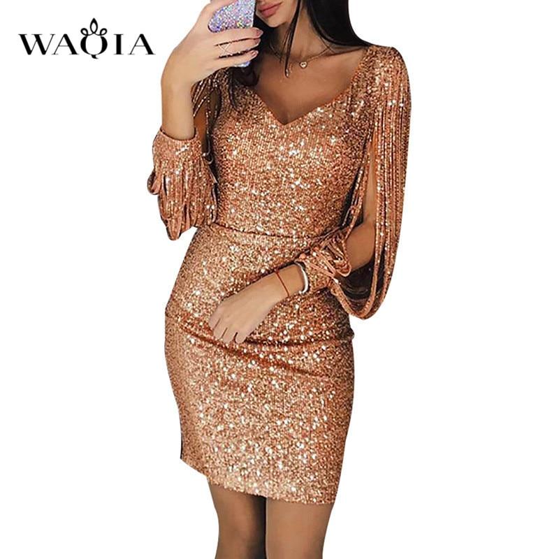 Sexy Sequin Women Dress Autumn Long Sleeve Sheath Dress High Waist Sexy V Neck  Glitter Tassel Party Night  Bodycorn Mini Dress
